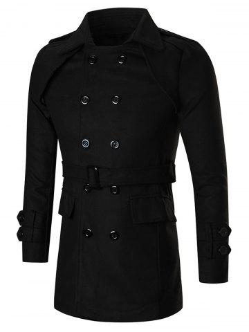 Turn Down Collar Double-Breasted Peacoat