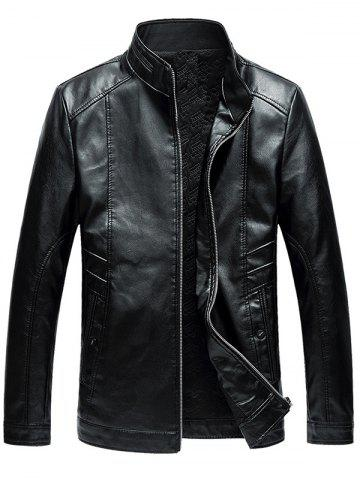 Stand Collar Zip Up Faux Leather Jacket