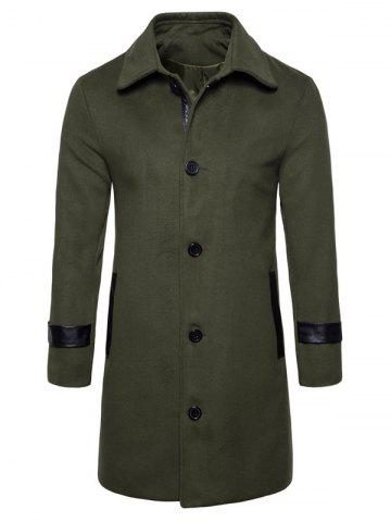 Store Single Breasted PU Leather Edging Woolen Coat