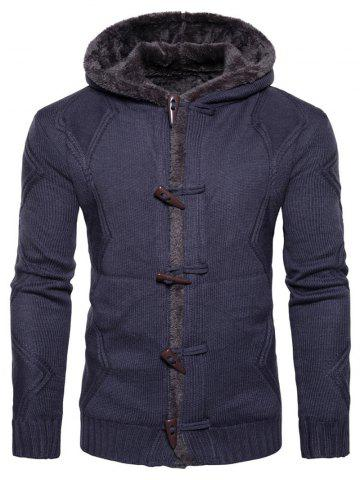 Horn Button Fleece Knitted Jacket