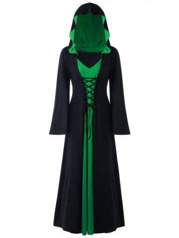 Halloween Plus Size Lace Up Hooded Maxi Dress