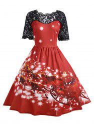 Plus Size Lace Panel Midi Father Christmas Party Dress - RED 5XL