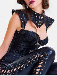 Steel Boned Cut Out Corset Vest -
