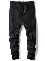 Zipper Fly Stretch Ripped Jeans -