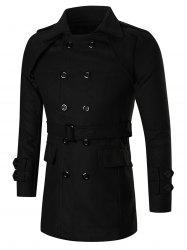 Turn Down Collar Double-Breasted Peacoat -