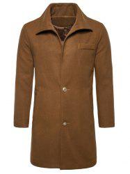 Single Breasted Edging Woolen Coat -