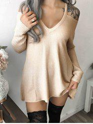 V Neck Cold Shoulder Tunic Dress -