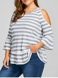 Plus Size Striped Cold Shoulder Top -