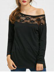 Hollow Out Crochet Insert One Shoulder Top -