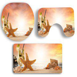 3Pcs Sunset Starfish Pattern Bath Toilet Mats Set -