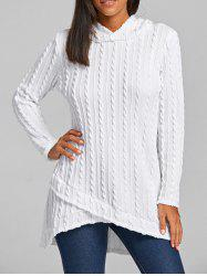 Cable Knitted Hooded Tunic Sweater -