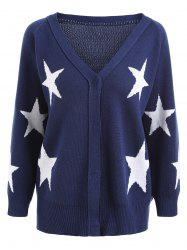 Button Stars Plus Size V Neck Cardigan -