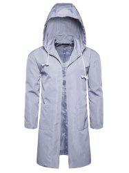 Open Front Drawstring Polyester Coat -