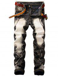 Straight Leg Acid Wash Vintage Jeans -