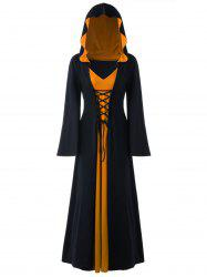 Halloween Plus Size Lace Up Hooded Maxi Dress -