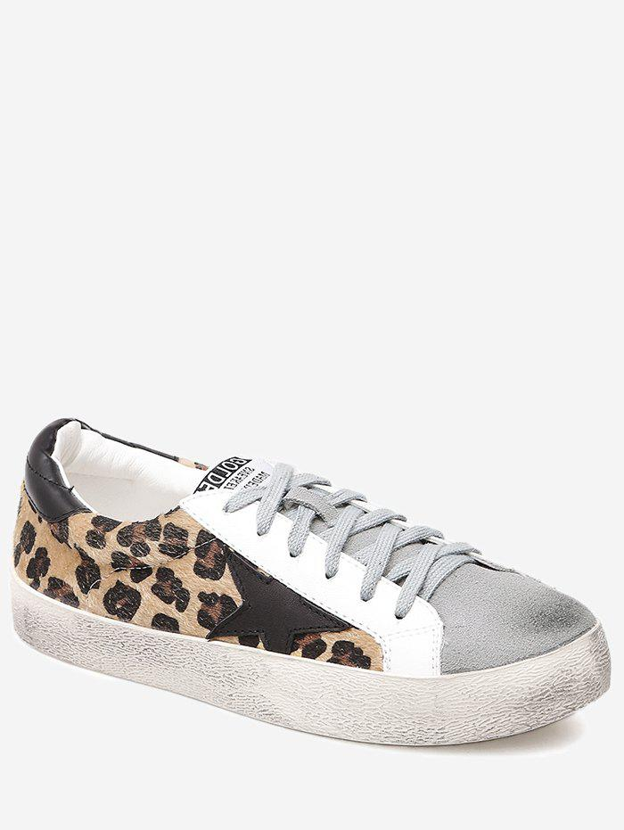 Outfit Color Block Star Leopard Print Skate Shoes