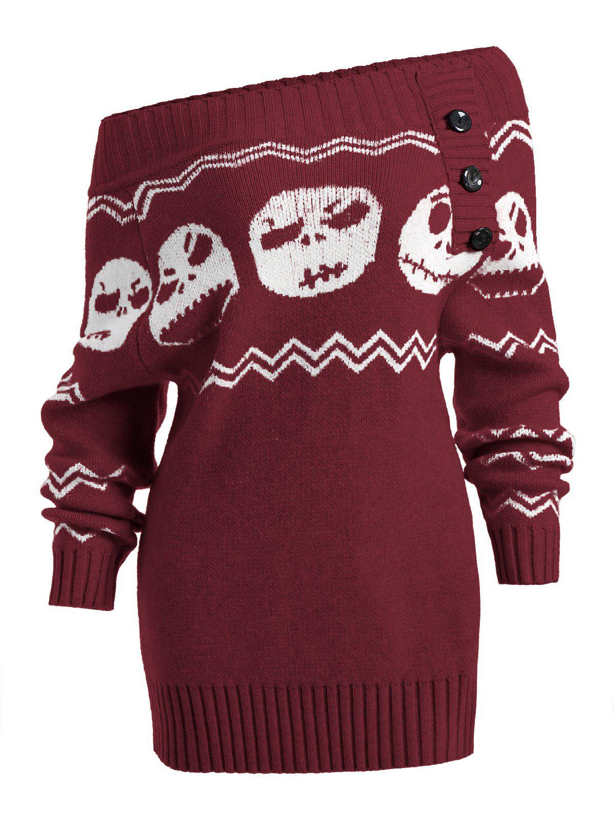 Skull Off Shoulder Tunic SweaterWOMEN<br><br>Size: L; Color: CLARET; Type: Pullovers; Material: Acrylic; Sleeve Length: Full; Collar: Off The Shoulder; Style: Fashion; Pattern Type: Skulls; Season: Fall,Spring,Winter; Elasticity: Elastic; Weight: 0.4900kg; Package Contents: 1 x Sweater;