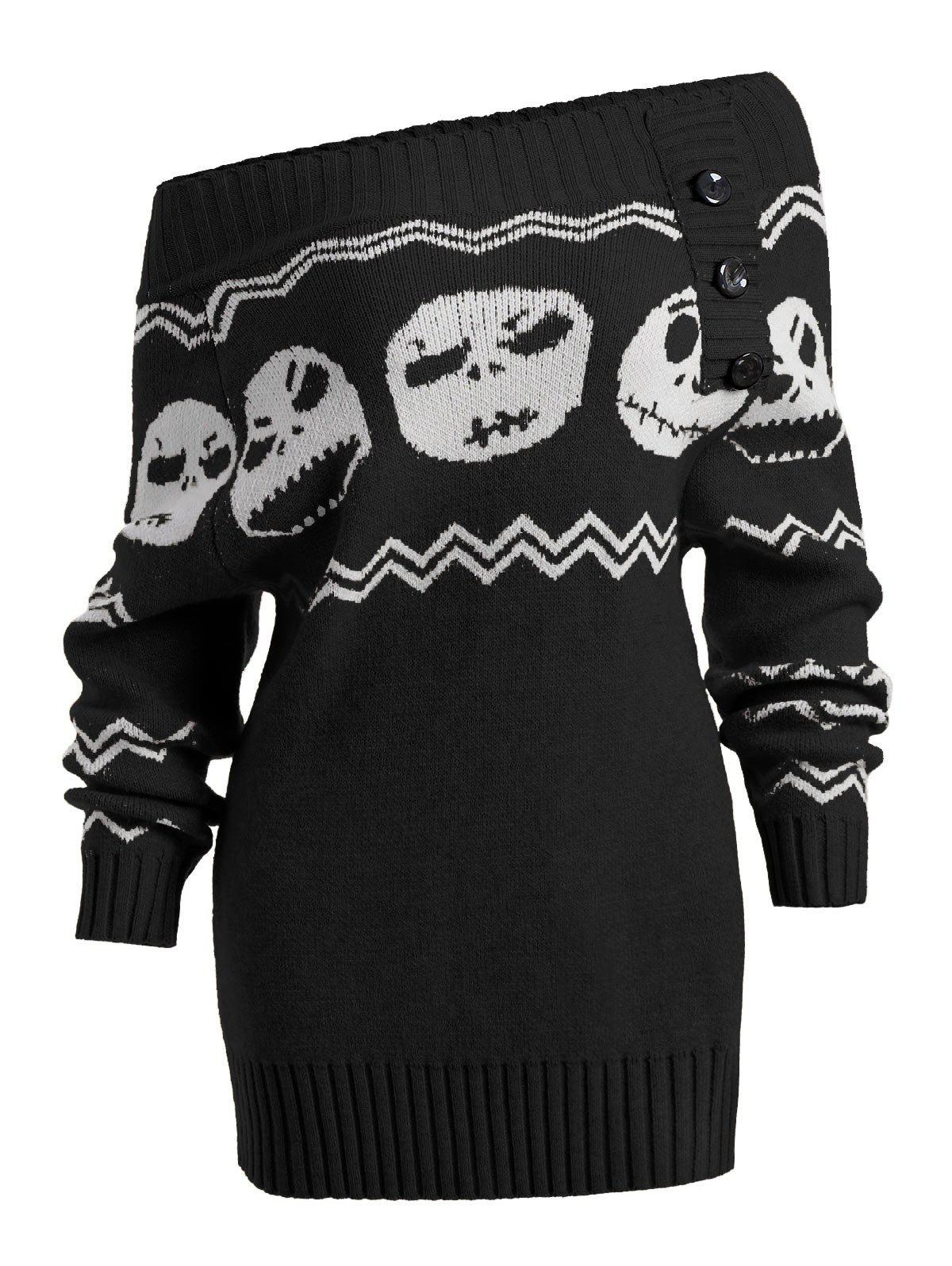 Skull Off Shoulder Tunic SweaterWOMEN<br><br>Size: 2XL; Color: BLACK; Type: Pullovers; Material: Acrylic; Sleeve Length: Full; Collar: Off The Shoulder; Style: Fashion; Pattern Type: Skulls; Season: Fall,Spring,Winter; Elasticity: Elastic; Weight: 0.4900kg; Package Contents: 1 x Sweater;