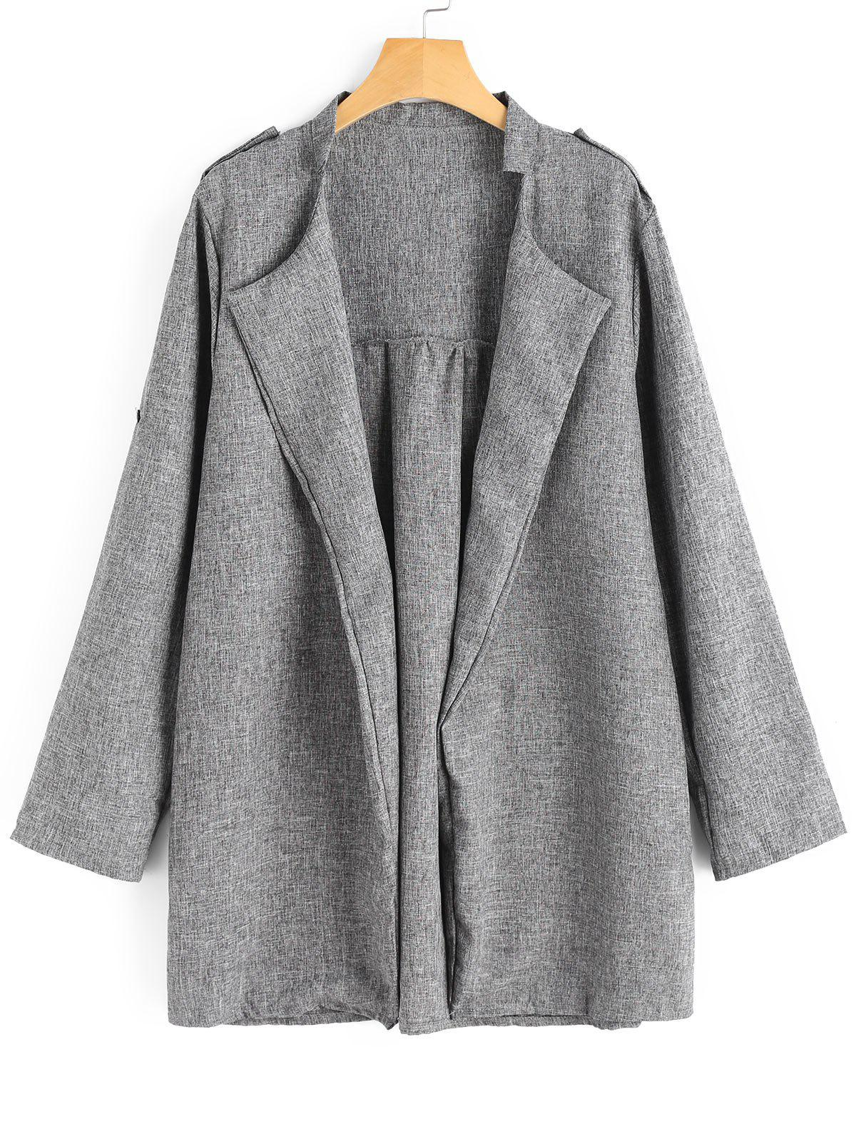 Discount Plus Size Open Front Heathered Coat