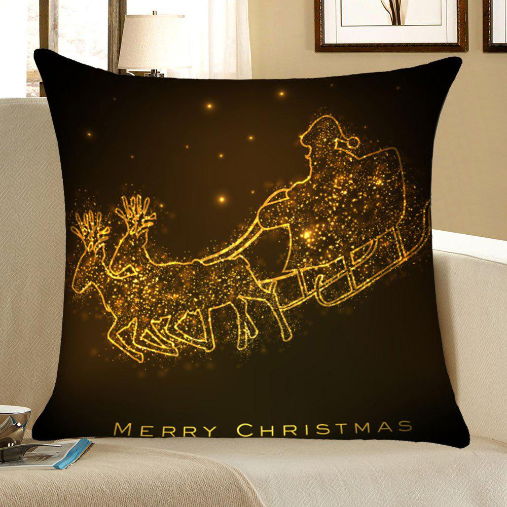 Christmas Golden Carriage Pattern Square Pillow CaseHOME<br><br>Size: W18 INCH * L18 INCH; Color: GOLDEN; Material: Linen; Pattern: Other; Style: Festival; Shape: Square; Weight: 0.0700kg; Package Contents: 1 x Pillow Case;