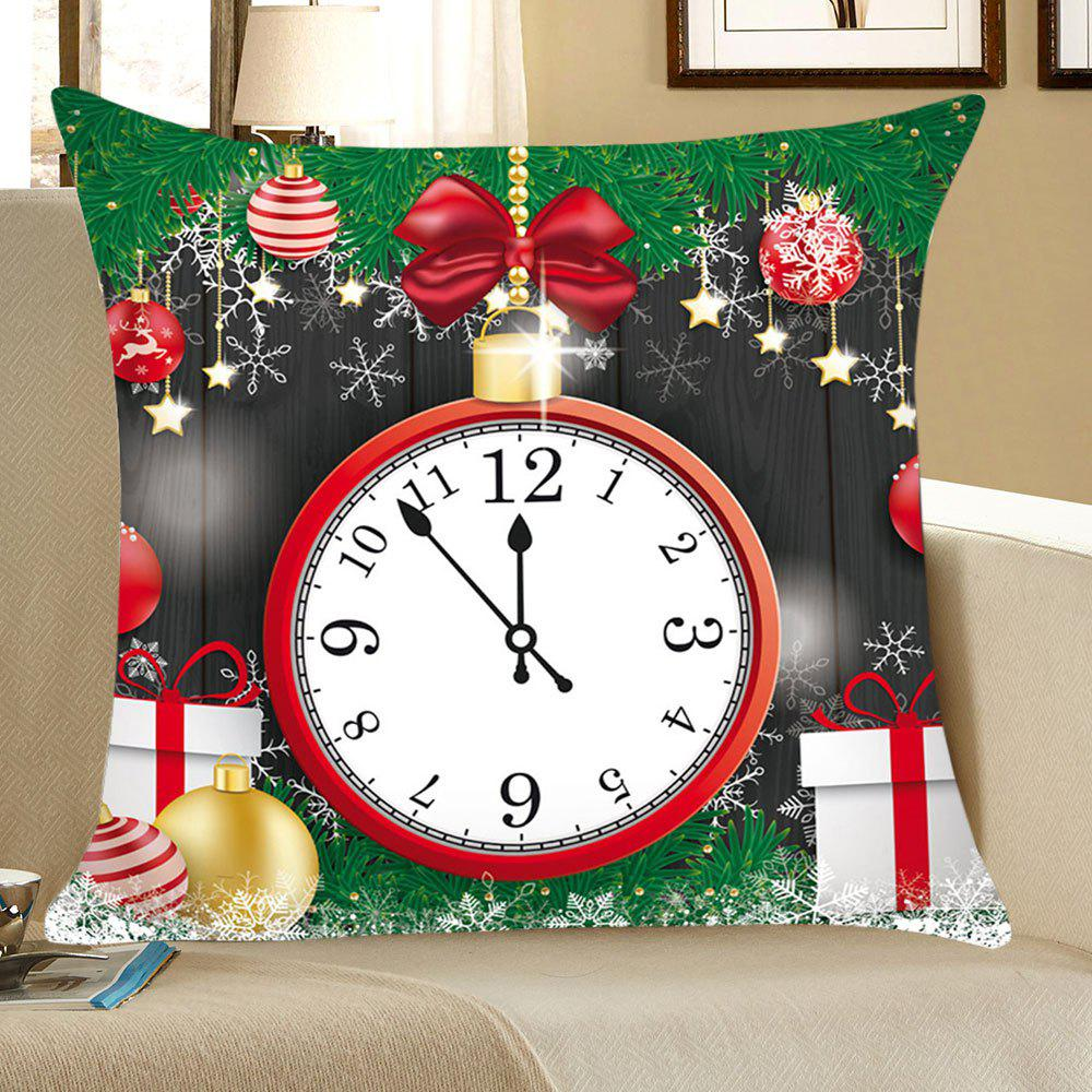 Christmas Clock and Baubles Pattern Linen Pillow CaseHOME<br><br>Size: W18 INCH * L18 INCH; Color: COLORFUL; Material: Linen; Pattern: Baubles; Style: Festival; Shape: Square; Weight: 0.0700kg; Package Contents: 1 x Pillow Case;