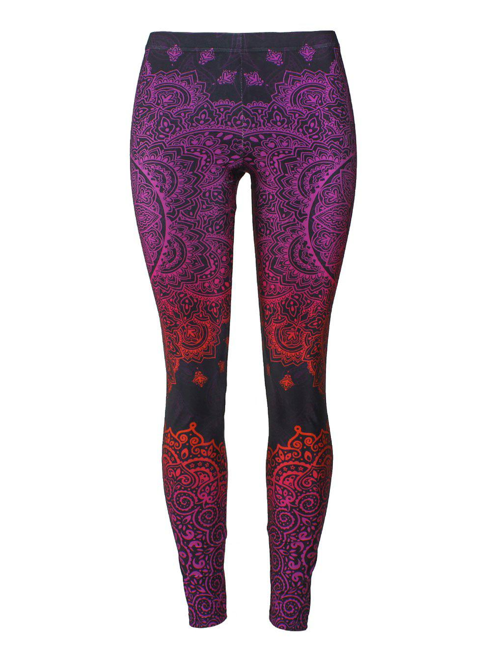 Bohemian Print Fitted LeggingsWOMEN<br><br>Size: XL; Color: COLORMIX; Style: Fashion; Material: Polyester; Waist Type: Mid; Pattern Type: Print; Weight: 0.2300kg; Package Contents: 1 x Leggings;