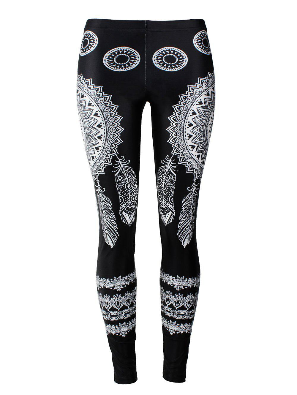 Skinny Bohemian Feather Print LeggingsWOMEN<br><br>Size: XL; Color: BLACK; Style: Fashion; Material: Polyester; Waist Type: Mid; Pattern Type: Print; Weight: 0.2300kg; Package Contents: 1 x Leggings;