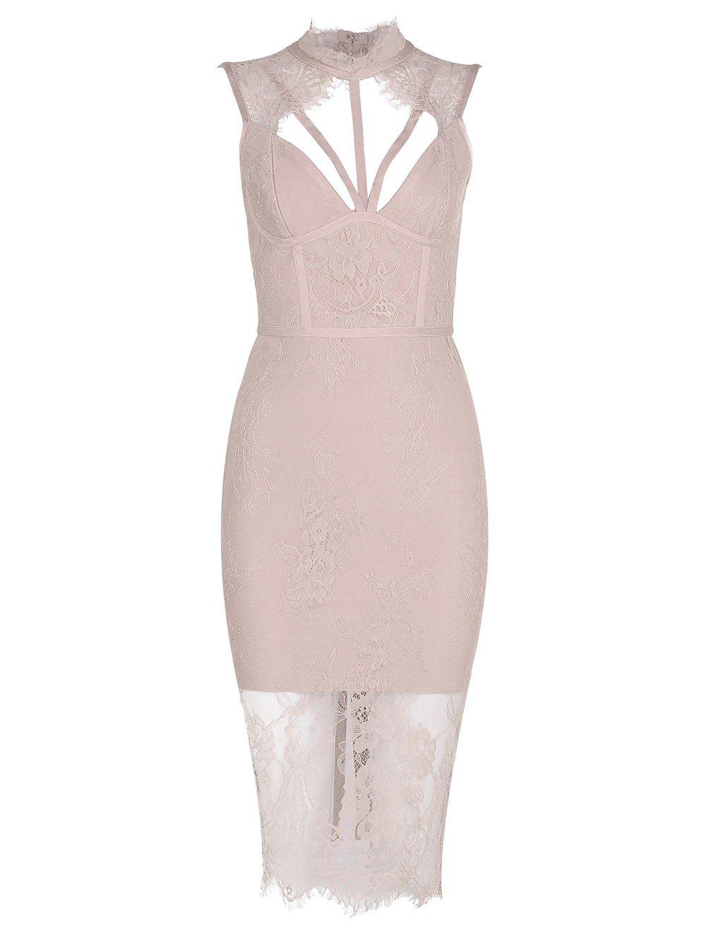 Best Cut Out Mock Neck Lace Bandage Dress