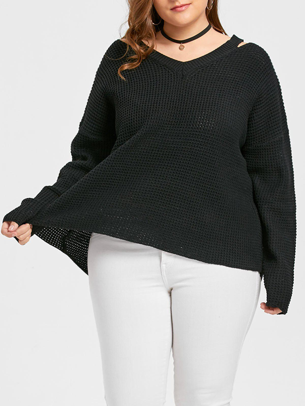 Affordable Long Plus Size V Neck Sweater
