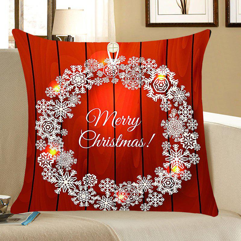 Christmas Snows Wreath Pattern Square Pillow CaseHOME<br><br>Size: W18 INCH * L18 INCH; Color: RED; Material: Linen; Pattern: Snowflake; Style: Romantic; Shape: Square; Weight: 0.0700kg; Package Contents: 1 x Pillow Case;