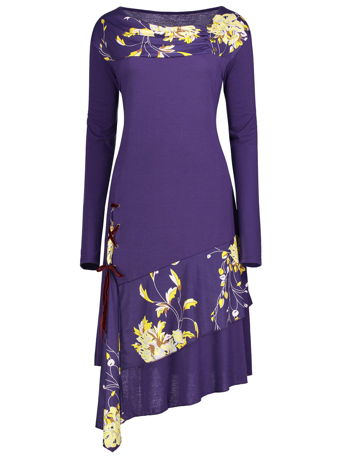 Lace-up Floral Insert Plus Size Long Sleeve DressWOMEN<br><br>Size: 3XL; Color: PURPLE; Style: Cute; Material: Polyester,Spandex; Silhouette: Straight; Dresses Length: Knee-Length; Neckline: Round Collar; Sleeve Length: Long Sleeves; Pattern Type: Floral; With Belt: No; Season: Fall,Spring; Weight: 0.4100kg; Package Contents: 1 x Dress;
