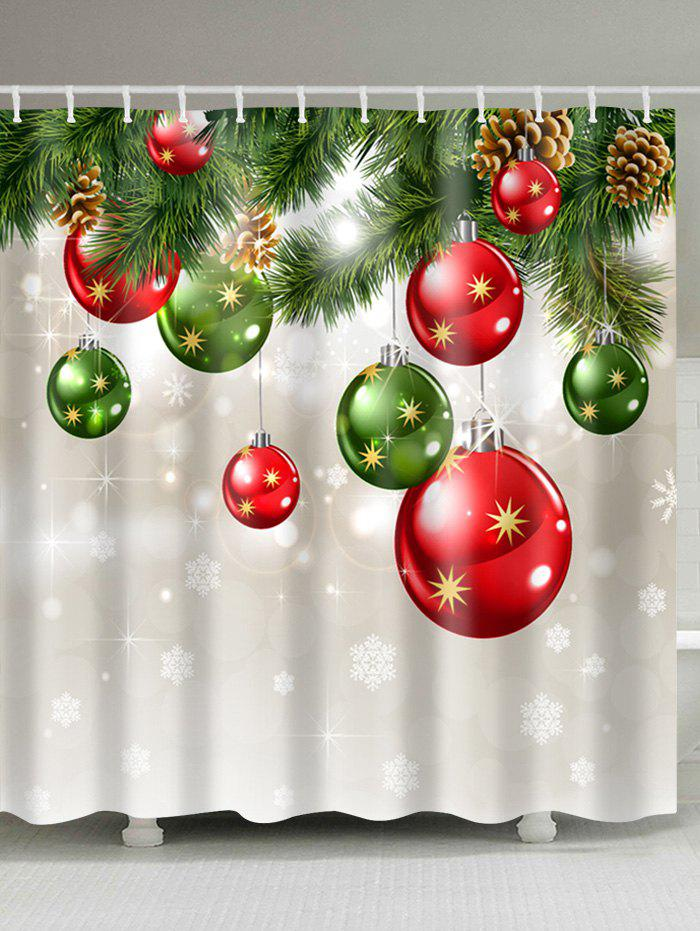 Image of Christmas Baubles Tree Print Fabric Waterproof Shower Curtain