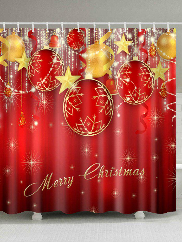 Christmas Baubles Star Print Waterproof Bathroom Shower CurtainHOME<br><br>Size: W71 INCH * L79 INCH; Color: RED; Products Type: Shower Curtains; Materials: Polyester; Pattern: Ball,Star; Style: Festival; Number of Hook Holes: W59 inch*L71 inch: 10; W71 inch*L71 inch: 12; W71 inch*L79 inch: 12; Package Contents: 1 x Shower Curtain 1 x Hooks (Set);