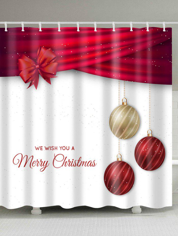 Christmas Ball Print Polyester Waterproof Bath CurtainHOME<br><br>Size: W59 INCH * L71 INCH; Color: RED AND WHITE; Products Type: Shower Curtains; Materials: Polyester; Pattern: Ball,Letter; Style: Festival; Number of Hook Holes: W59 inch*L71 inch: 10; W71 inch*L71 inch: 12; W71 inch*L79 inch: 12; Package Contents: 1 x Shower Curtain 1 x Hooks (Set);