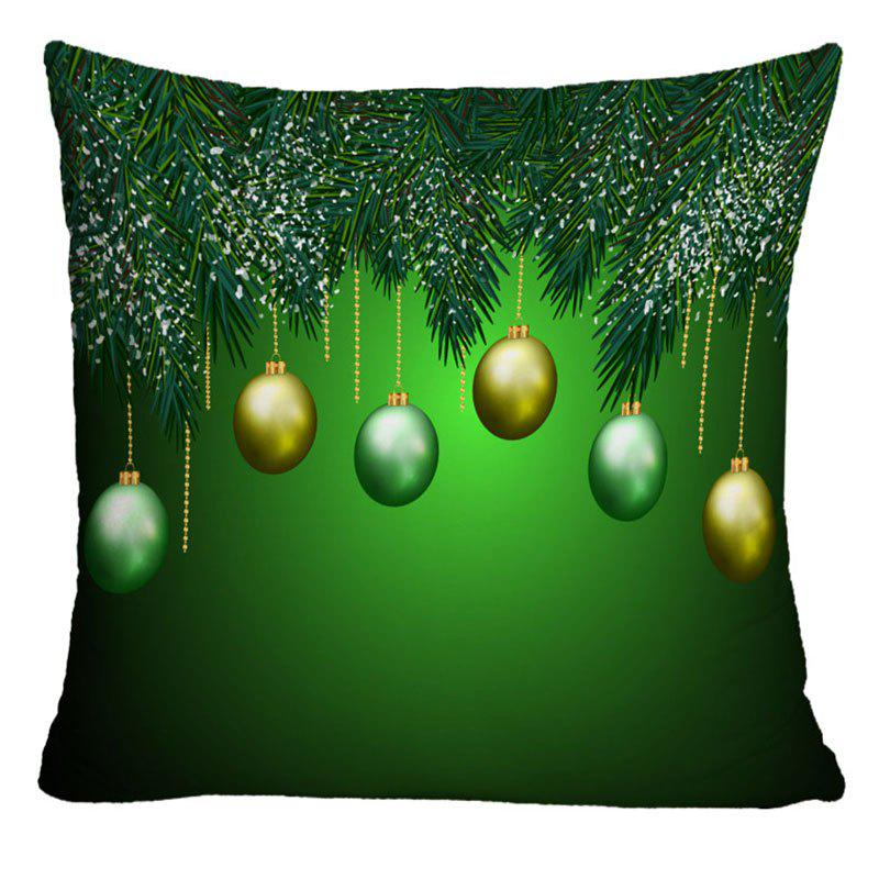 Christmas Balls Printed Decorative Pillow CaseHOME<br><br>Size: W17.5 INCH * L17.5 INCH; Color: GREEN; Material: Polyester / Cotton; Pattern: Printed; Style: Festival; Shape: Square; Weight: 0.1000kg; Package Contents: 1 x Pillowcase;