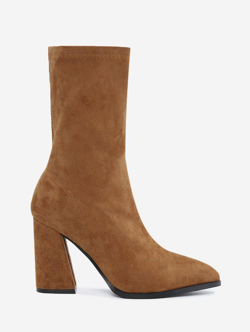 Affordable Pointed Toe Chunky Heel Boots