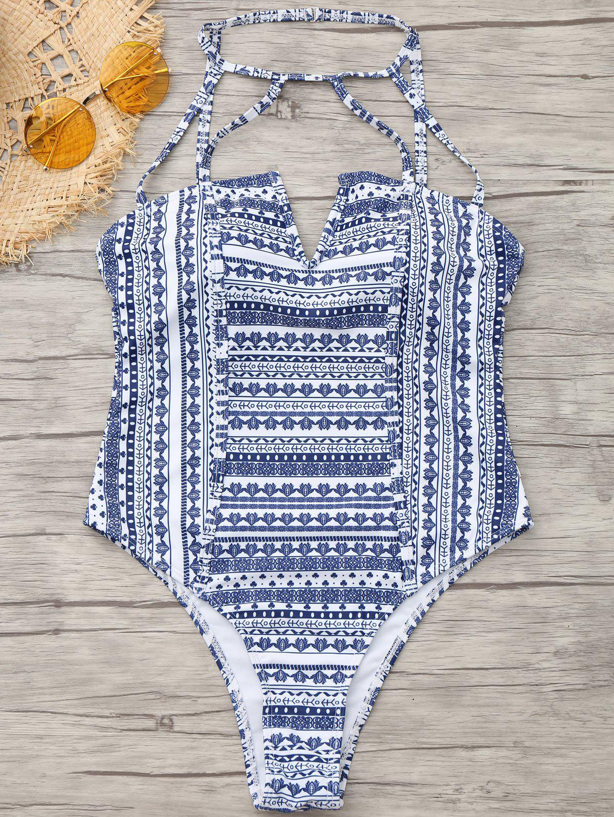 Shops Tribe Print High Cut One Piece Swimwear