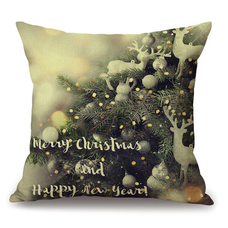 Christmas Graphic Decorative Thick PillowcaseHOME<br><br>Size: 45*45CM; Color: COLORMIX; Material: Cotton Linen; Pattern: Letter,Plant; Style: Festival; Shape: Square; Weight: 0.2000kg; Package Contents: 1 x Pillowcase;