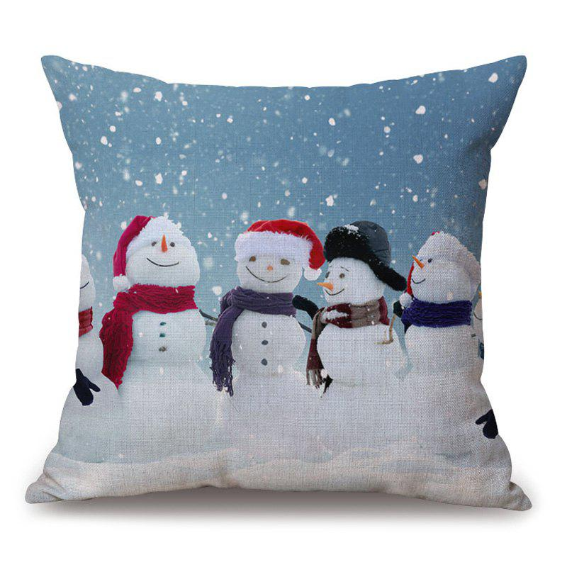 Christmas Snowman Family Print Thick Throw Pillow CaseHOME<br><br>Size: 45*45CM; Color: COLORMIX; Material: Cotton Linen; Pattern: Snowman; Style: Festival; Shape: Square; Weight: 0.2000kg; Package Contents: 1 x Pillowcase;