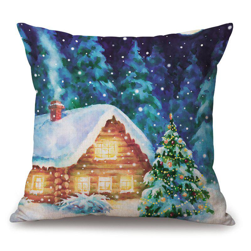Christmas Forest House Printed Thick Throw Pillow CaseHOME<br><br>Size: 45*45CM; Color: COLORMIX; Material: Cotton Linen; Pattern: Tree; Style: Festival; Shape: Square; Weight: 0.2000kg; Package Contents: 1 x Pillowcase;