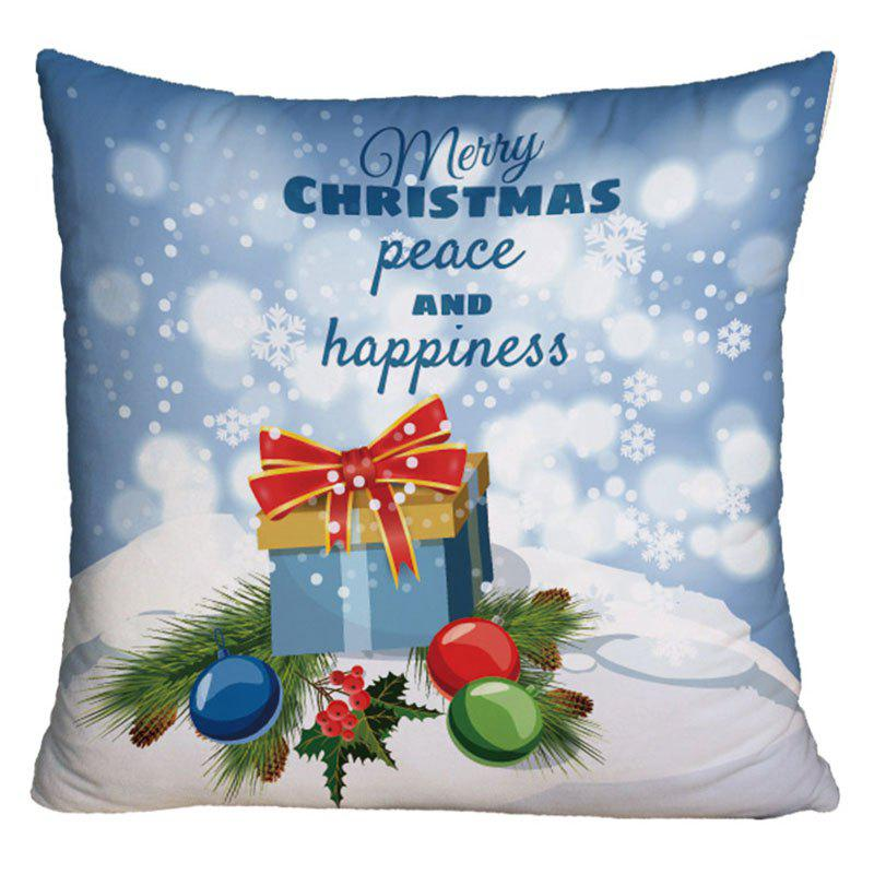 Christmas Gift Box Print Throw Pillow CaseHOME<br><br>Size: W17.5 INCH * L17.5 INCH; Color: LIGHT BLUE; Material: Polyester / Cotton; Pattern: Gift,Letter; Style: Festival; Shape: Square; Weight: 0.1000kg; Package Contents: 1 x Pillowcase;