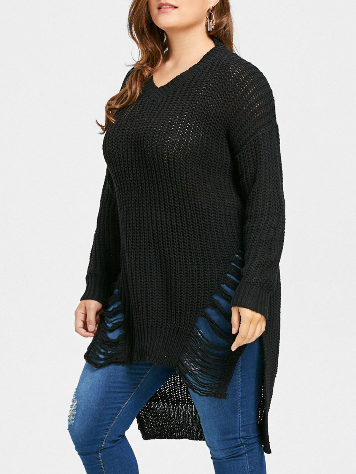 Affordable Plus Size High Low Distressed Longline Sweater