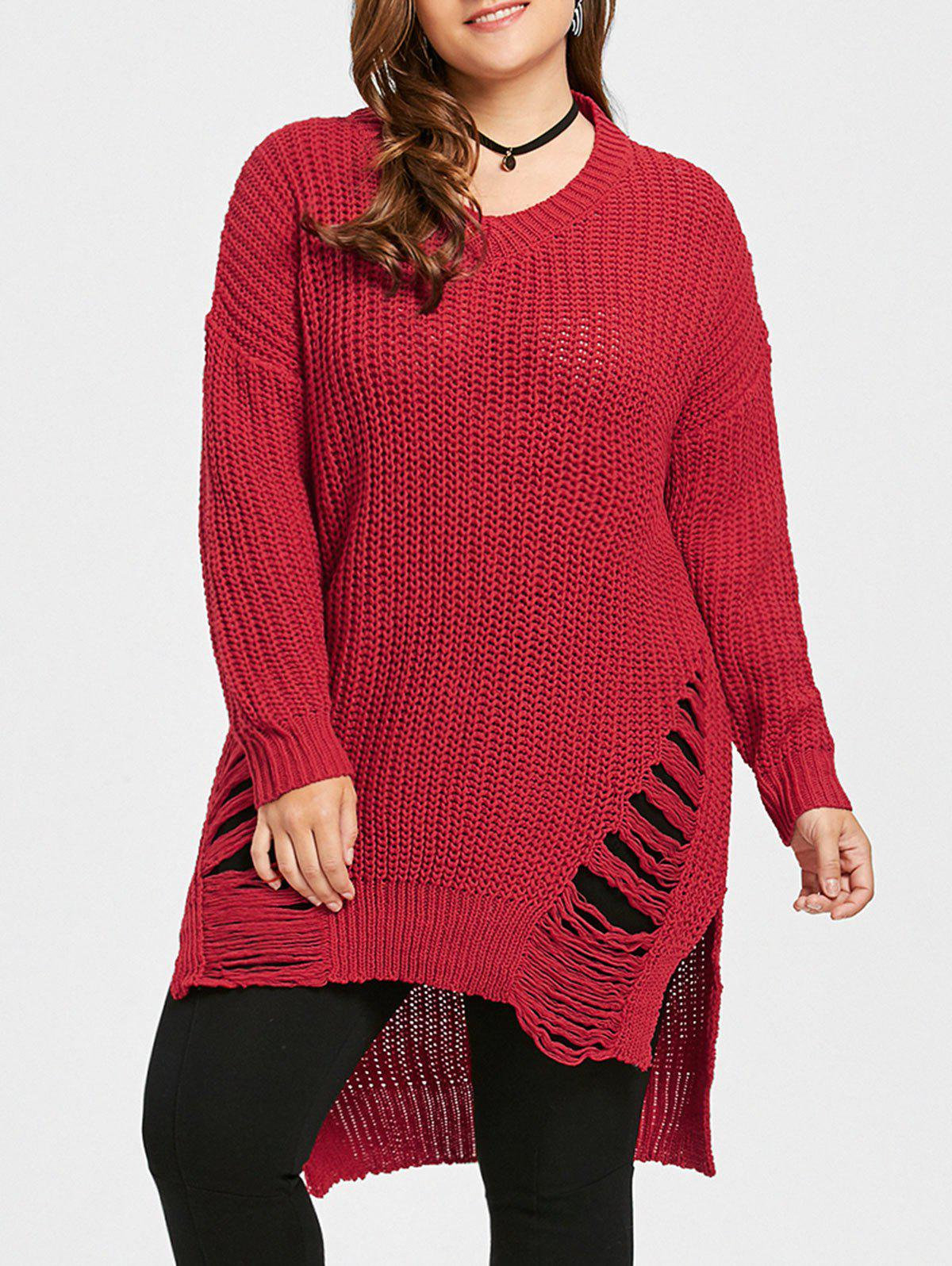 New Plus Size High Low Distressed Longline Sweater