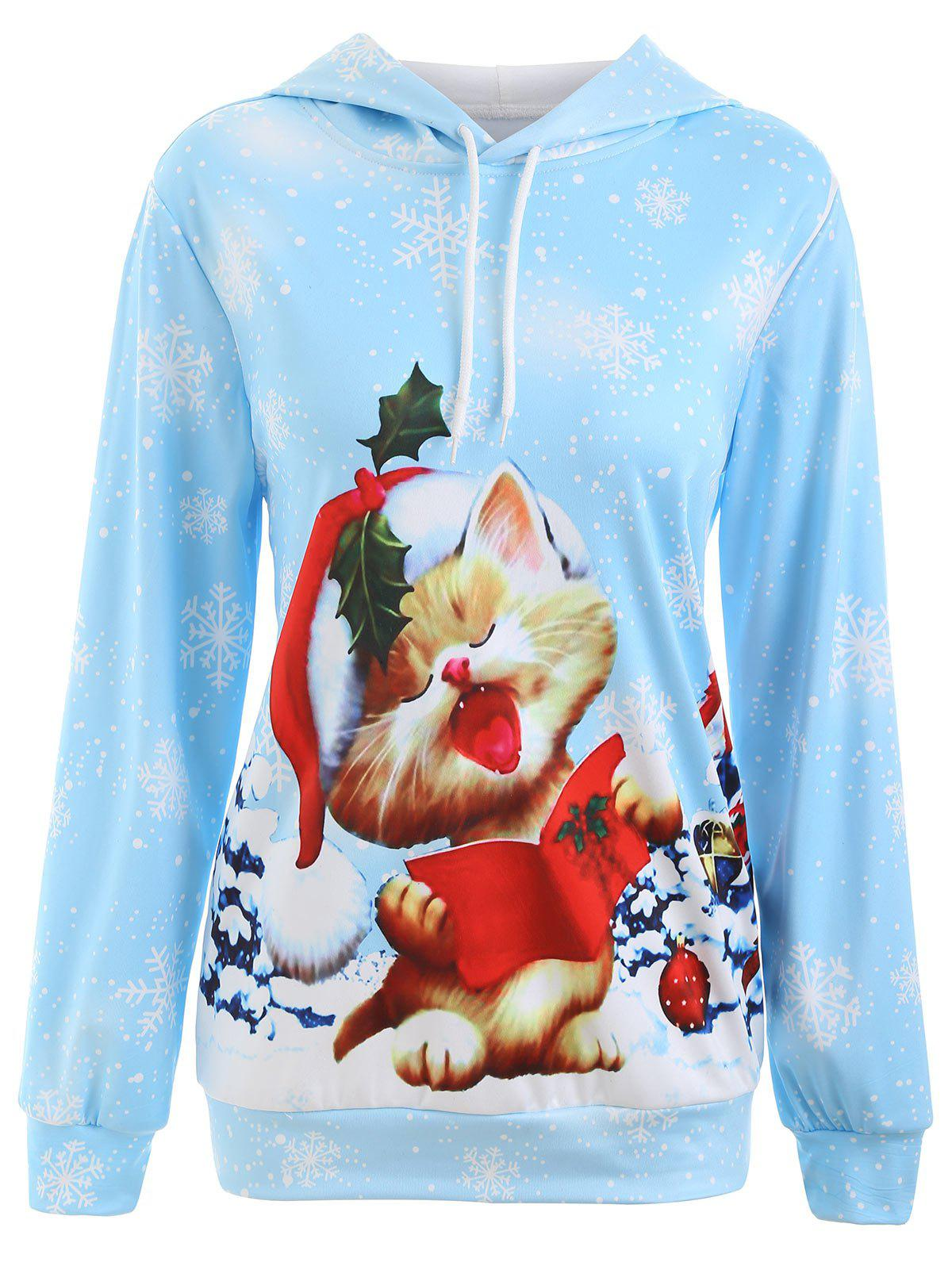 Christmas Cat Snowflake Printed HoodieWOMEN<br><br>Size: S; Color: LIGHT BLUE; Material: Polyester,Spandex; Shirt Length: Regular; Sleeve Length: Full; Style: Casual; Pattern Style: Animal,Plant; Season: Fall,Spring,Winter; Weight: 0.3500kg; Package Contents: 1 x Hoodie;