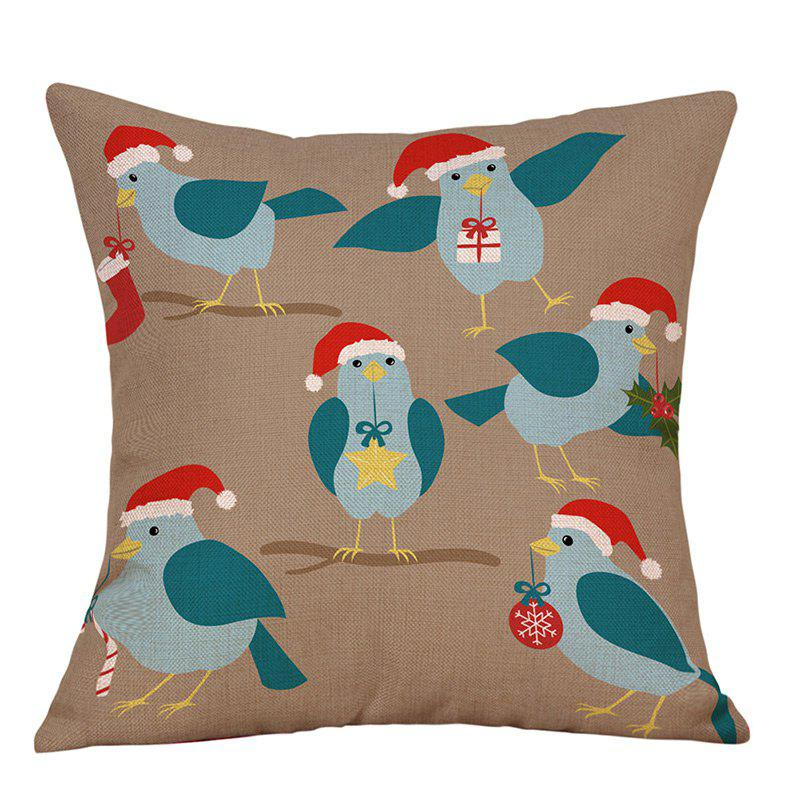 Christmas Birds Print Decorative Linen PillowcaseHOME<br><br>Size: W18 INCH * L18 INCH; Color: COLORMIX; Material: Linen; Pattern: Animal; Style: Festival; Shape: Square; Weight: 0.0900kg; Package Contents: 1 x Pillowcase;