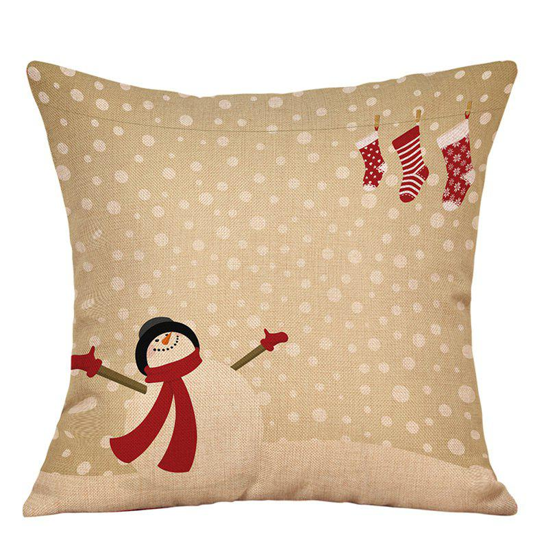 Chic Snowy Christmas Snowman Print Decorative Linen Pillowcase