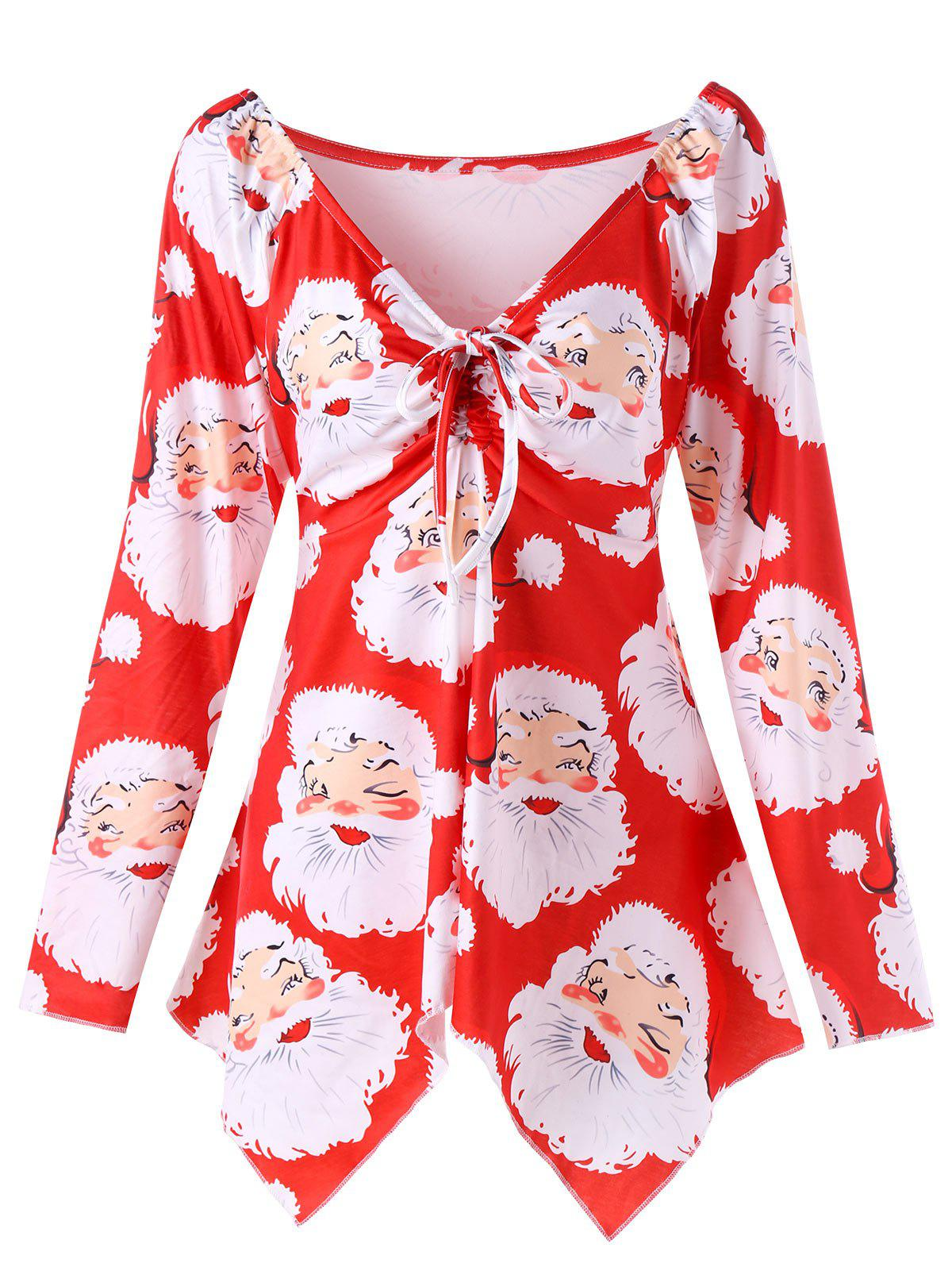 Christmas Plus Size Santa Claus Print Asymmetrical T-shirtWOMEN<br><br>Size: 5XL; Color: RED; Material: Polyester; Shirt Length: Long; Sleeve Length: Full; Collar: V-Neck; Style: Fashion; Season: Fall,Spring; Pattern Type: Print; Weight: 0.3500kg; Package Contents: 1 x T-shirt;