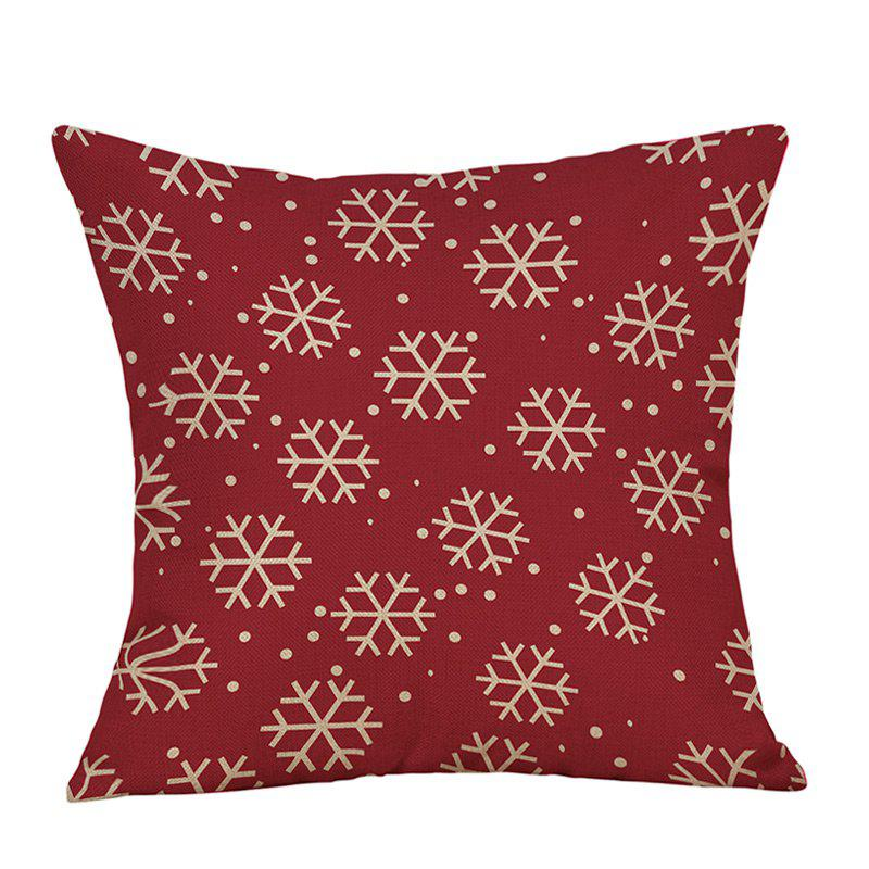 Christmas Snowflakes Print Decorative Linen PillowcaseHOME<br><br>Size: W18 INCH * L18 INCH; Color: RED; Material: Linen; Pattern: Snowflake; Style: Festival; Shape: Square; Weight: 0.0900kg; Package Contents: 1 x Pillowcase;
