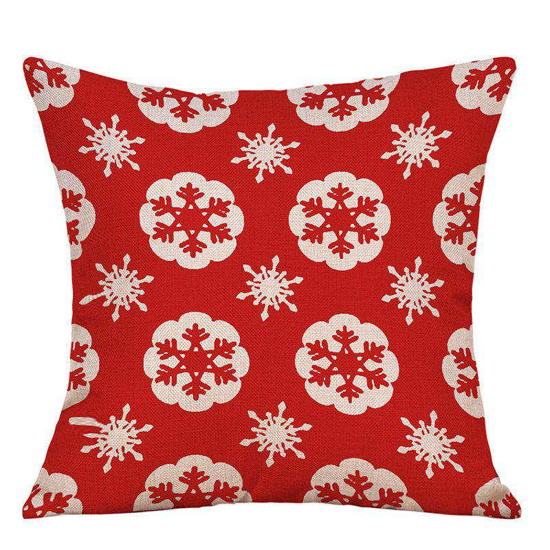 Snowflake Christmas Print Decorative Linen PillowcaseHOME<br><br>Size: W18 INCH * L18 INCH; Color: RED; Material: Linen; Pattern: Snowflake; Style: Festival; Shape: Square; Weight: 0.0900kg; Package Contents: 1 x Pillowcase;