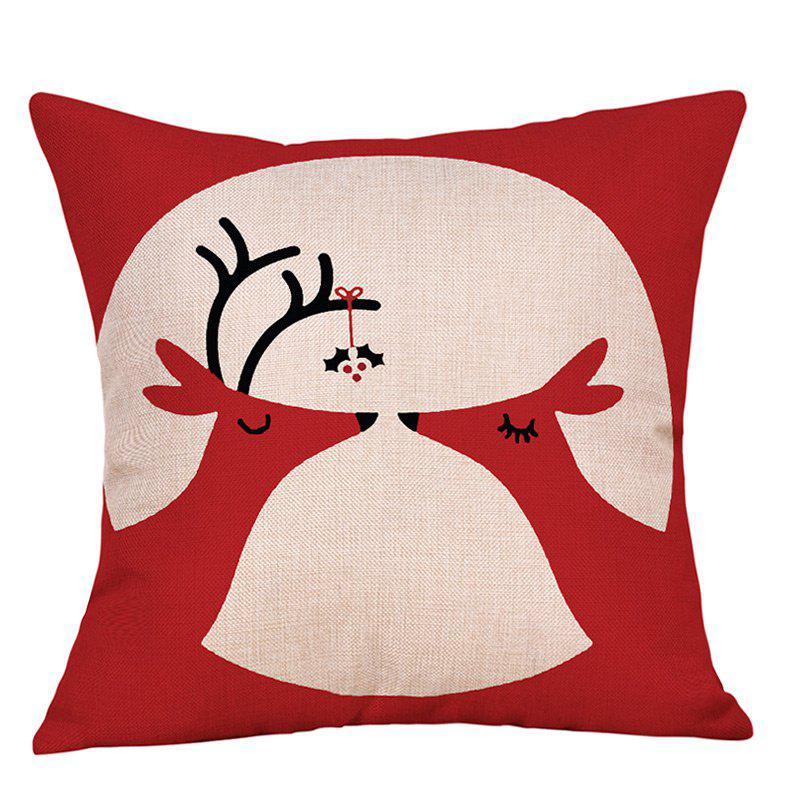 Christmas Deers Print Decorative Sofa Linen PillowcaseHOME<br><br>Size: W18 INCH * L18 INCH; Color: RED; Material: Linen; Pattern: Animal; Style: Festival; Shape: Square; Weight: 0.0900kg; Package Contents: 1 x Pillowcase;